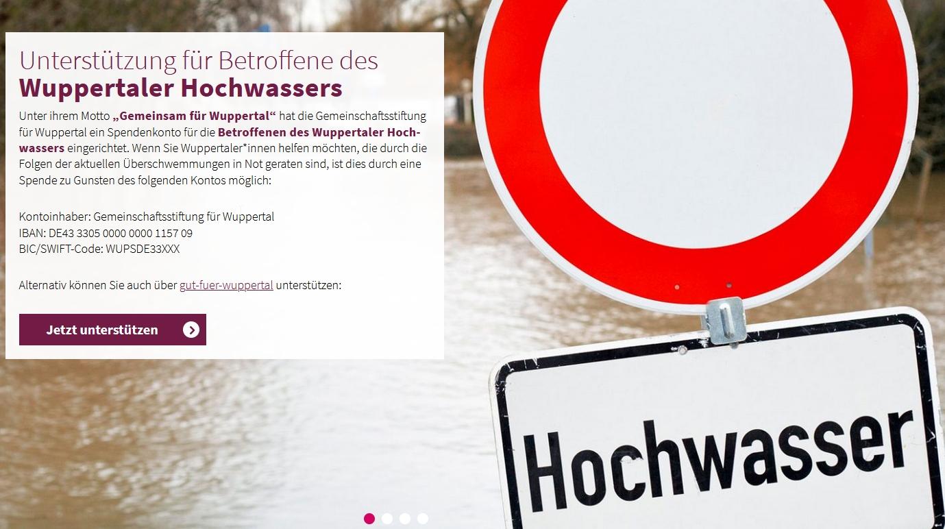 Unterstützung für Betroffene des Wuppertaler Hochwassers